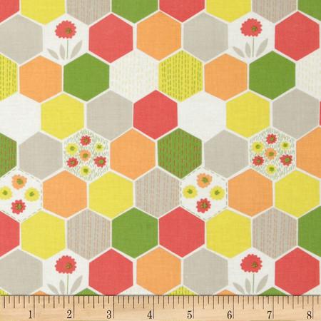 Dear Stella Savannah Honeycomb Hexi Off White Fabric