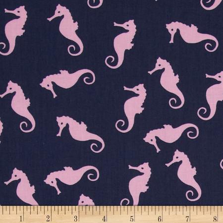 Dear Stella Sea Worthy Seahorse Pink Fabric