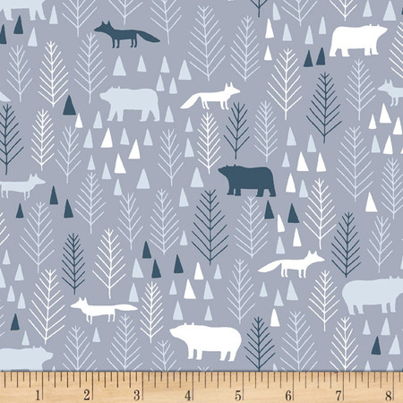 Dear Stella The Big Chill Icy Pines Grey Fabric By The Yard