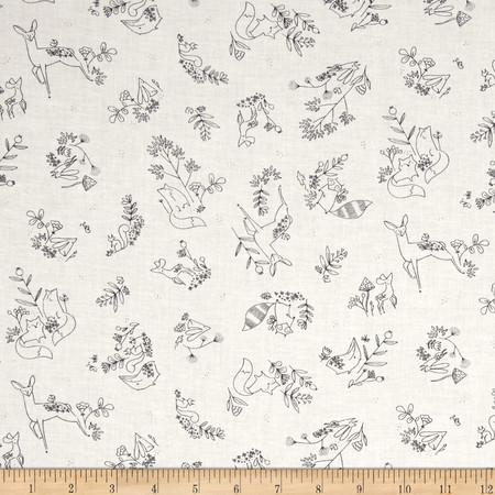 Dear Stella Timberland Woodland Frolic White Fabric By The Yard