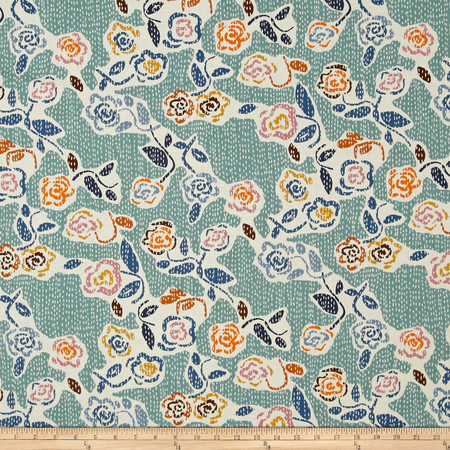 Dear Stella Tossed Flowers Teal/Multi Fabric By The Yard