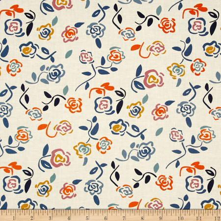 Dear Stella Tossed Roses Cream/Multi Fabric By The Yard