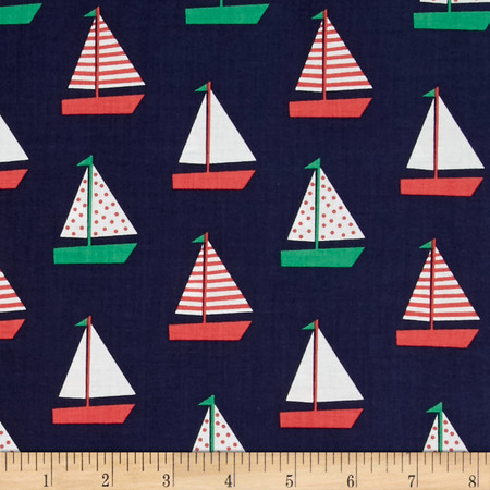 Dear Stella Whale of a Holiday Sailboats Navy Fabric By The Yard