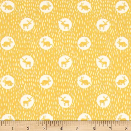 Dear Stella Wildwood Midnight Animals Yellow Fabric By The Yard