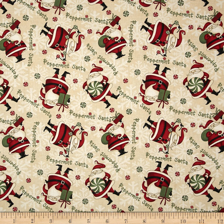 Debbie Mumm Peppermint Santas Santa Toss Tan Fabric