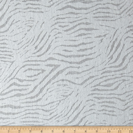 Designer Burnout Thermal Knit Zebra White Fabric By The Yard