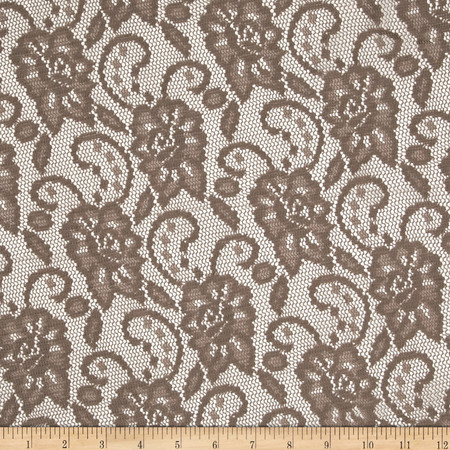Designer Crochet Lace Taupe Fabric By The Yard