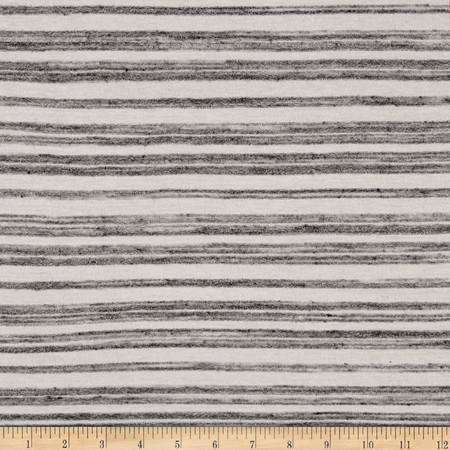 Designer Jersey Knit Stripe Cream/Grey Fabric