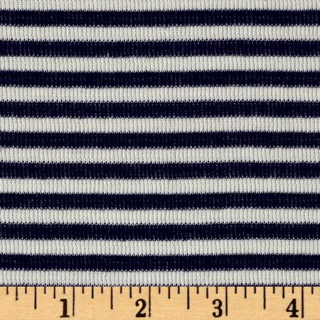 Designer Jersey Knit Stripe Reversible Stripe Navy/White Fabric By The Yard