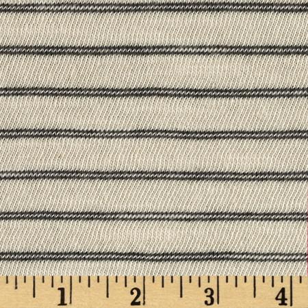 Designer Jersey Knit Stripes Ecru/Gray Fabric