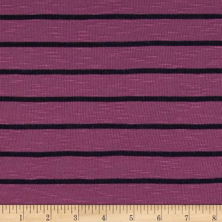 Designer Jersey Knit Stripes Raspberry/Black Fabric