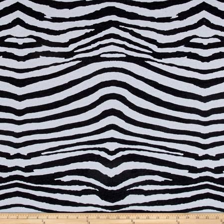 Designer Jersey Knit Zebra Print Black Fabric