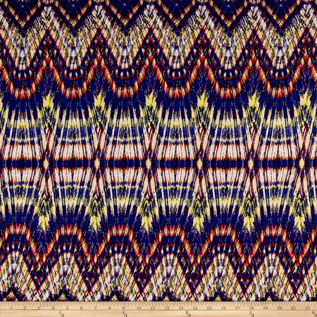 Designer Jersey Knit Zig Zag Rainbow Fabric