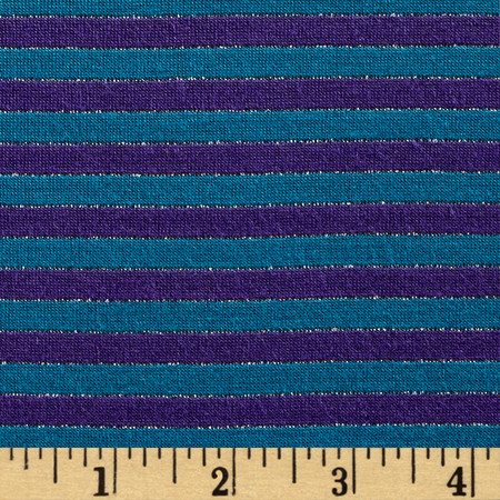 Designer Metallic Jersey Knit Small Stripes Teal/Purple Fabric By The Yard