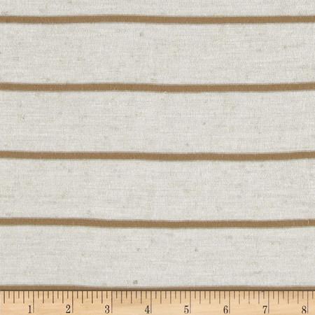 Designer Stripe Jersey Knit Khaki/Cream Fabric