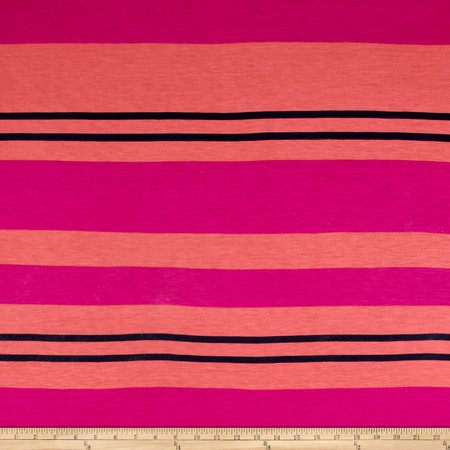 Designer Striped Jersey Knit Coral/Fuchsia Fabric