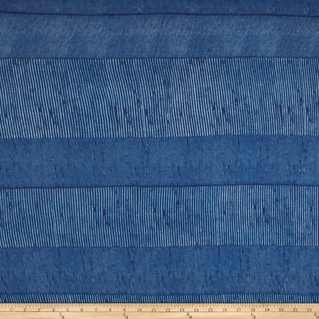 Designer Tissue Rayon Jersey Knit Micro Stripes Royal Fabric