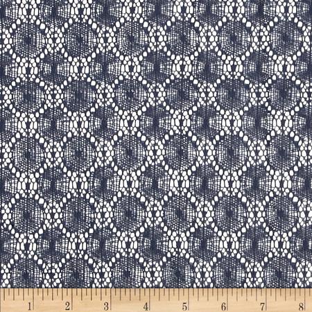 Designer Woven Lace Dark Blue Fabric