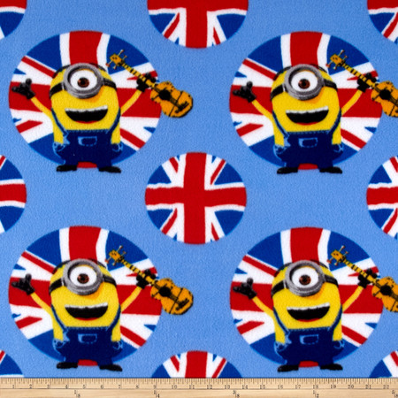 Despicable Me Fleece Minions UK Guitars Blue Fabric By The Yard