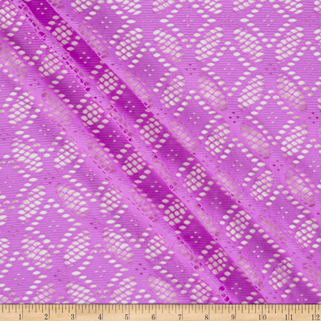 Diamond Crochet Lace Knit Orchid Fabric By The Yard