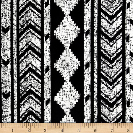 Diamond Links Rayon Challis Black/Ivory Fabric By The Yard