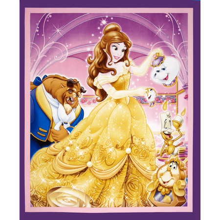 Disney Beauty & The Beast 36 In. Panel Purple Fabric By The Yard