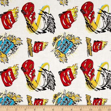 Disney Cars I Am Speed White Fabric By The Yard