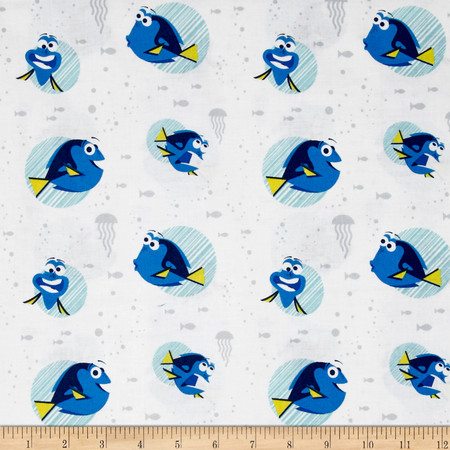 Disney Finding Dory Dory Faces White Fabric By The Yard