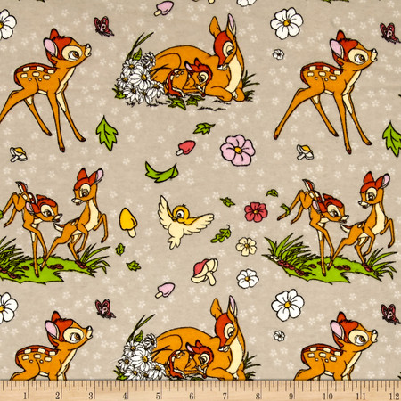 Disney Flannel Bambi Taupe Fabric By The Yard