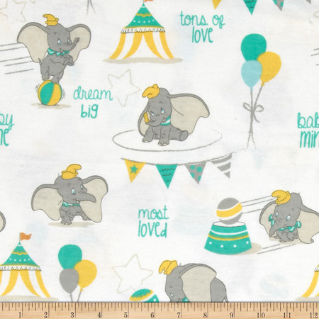 Disney Flannel Dumbo Most Loved White Fabric By The Yard