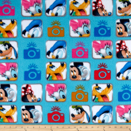 Disney Fleece Mickey and Friends Camera Blue Fabric By The Yard