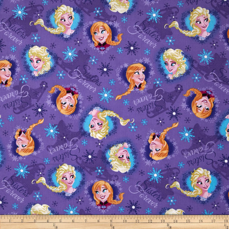 Disney Frozen Sisters Ice Skating Heart Framed Purple Fabric By The Yard