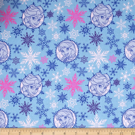 Disney Frozen Winter Magic Sisters Papercut Badges Toss Blue Fabric