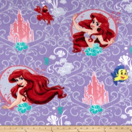 Disney Mermaid Scroll Frame Fleece Fabric By The Yard