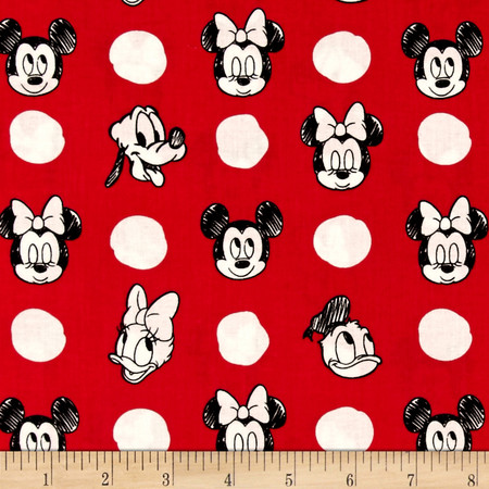 Disney Mickey Mouse & Friends Character Jumbo Dots Ruby Fabric By The Yard