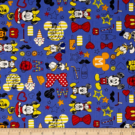 Disney Mickey Mouse & Friends Summer Fun Blue Fabric