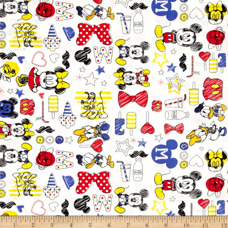 Disney Mickey Mouse & Friends Summer Fun White Fabric By The Yard