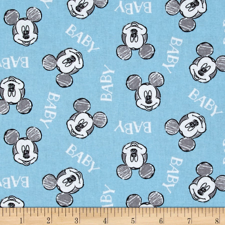 Disney Mickey Nursery Oh Boy! Mickey Toss Blue Fabric By The Yard