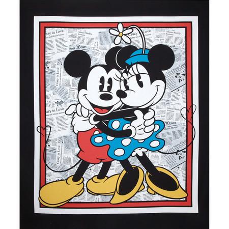 Disney Mickey Vintage Mickey & Minnie Panel Gray Fabric