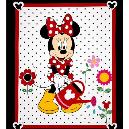 Disney Minnie Traditional Grow Your Own Panel White Fabric By The Yard