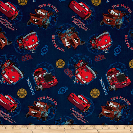Disney Pixar Cars Allover Blue Fabric By The Yard