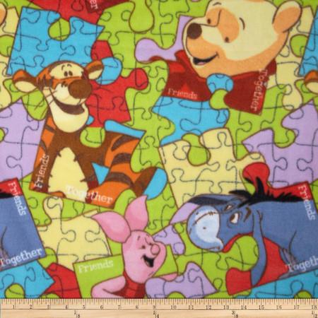 Disney Pooh Everyday Fleece Pooh Puzzle Toss Multi Fabric