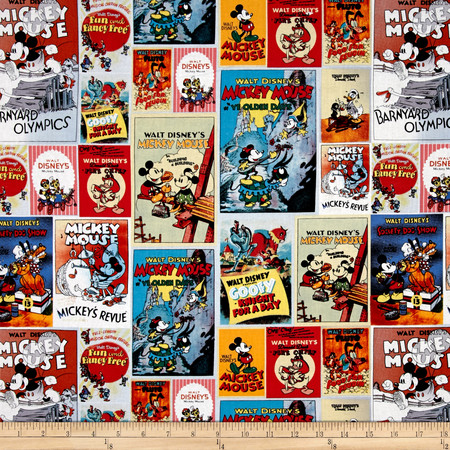 Disney Posters Mickey & Minnie Poster Multi Fabric By The Yard