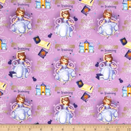 Disney Princess Sofia Princess in Training Purple Fabric By The Yard