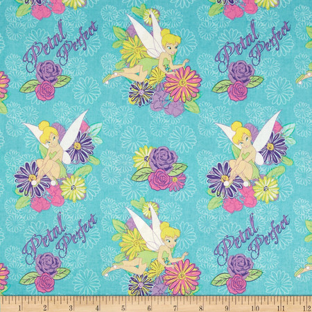 Disney Tinkerbell Tink Petal Perfect Flower Turquoise Fabric