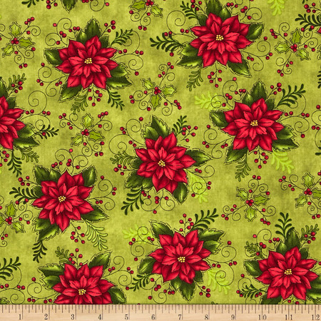 Do You See What I See Book Poinsettia Green Fabric By The Yard