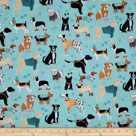 Dog Lover Dogs Dark Aqua Fabric By The Yard