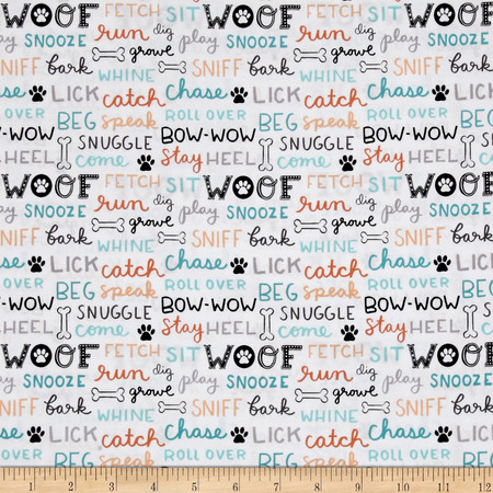 Dog Lover Words White Fabric By The Yard