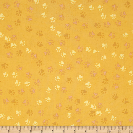 Dog Park Paw Print Gold Fabric
