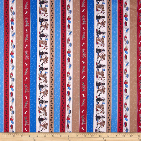 Dog's Life Cat's Life Dog Stripe Blue/Red Fabric
